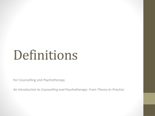 INTRODUCTION TO PSYCHOTHERAPIES