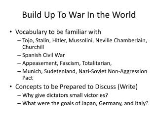 Build Up To War In the World