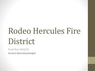 Rodeo Hercules Fire District