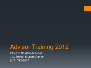 Advisor Training 2012