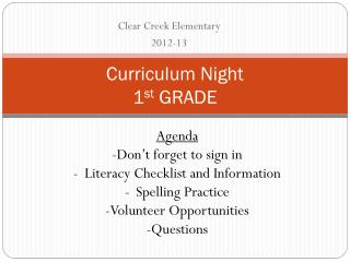 Curriculum Night 1 st  GRADE