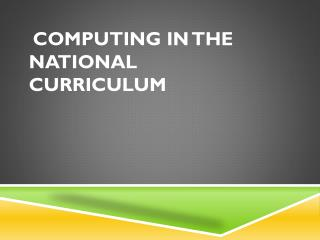 Computing in the national curriculum