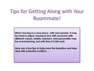 Tips for Getting Along with Your Roommate!