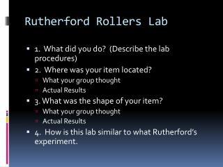 Rutherford Rollers Lab