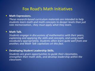 Fox Road's Math Initiatives