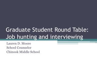 Graduate Student Round Table: Job hunting and interviewing