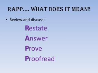 RAPP…. What does it mean?