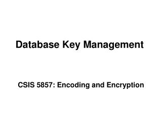 Database Key Management