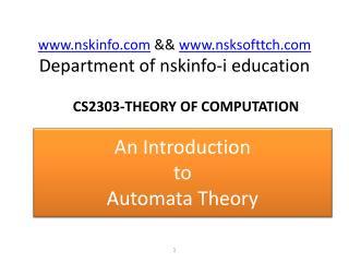 nskinfo  &&  nsksofttch Department of nskinfo-i education