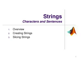 Strings Characters and Sentences