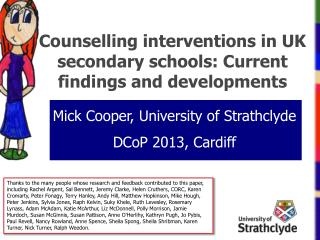 Counselling interventions  in UK secondary schools: Current findings and developments