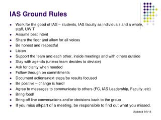 IAS Ground Rules
