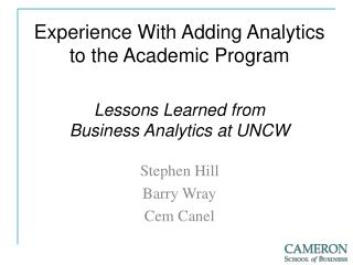 Experience With Adding Analytics to the Academic Program