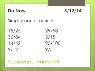 Homework:   worksheet