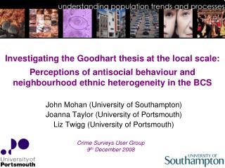 John Mohan (University of Southampton) Joanna Taylor (University of Portsmouth)