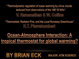 """""""Thermodynamic regulation of ocean warming by cirrus clouds"""