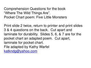 "Comprehension Questions for the book ""Where The Wild Things Are""."