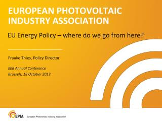 EUROPEAN PHOTOVOLTAIC INDUSTRY ASSOCIATION