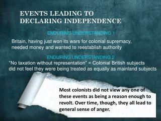 Britain, having just won its wars for colonial supremacy,