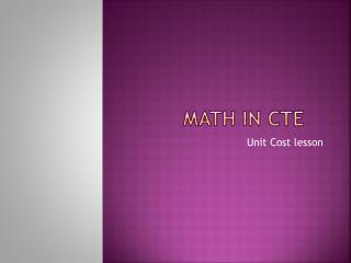 MATH IN CTE