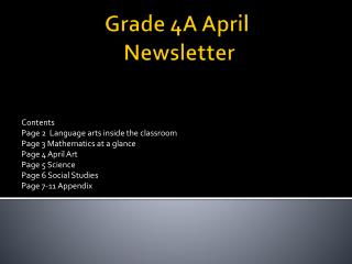 Grade 4A April  Newsletter