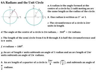 6A Radians and the Unit Circle