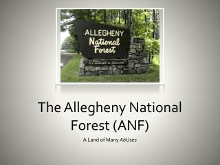 The Allegheny National Forest (ANF)