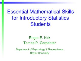 Essential Mathematical Skills for Introductory Statistics Students