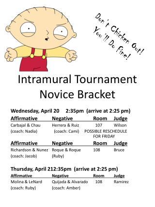 Intramural Tournament Novice Bracket