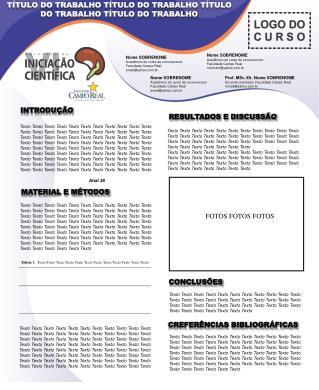 Nome SOBRENOME Acadêmico do curso de  xxxxxxxxxxxx Faculdade Campo Real email@yahoo.br