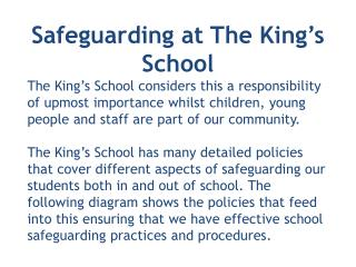 Safeguarding at  The  King's School