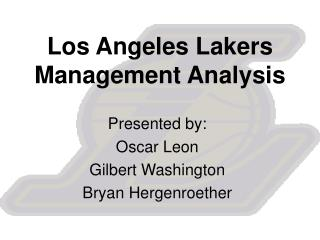 Los Angeles Lakers Management Analysis