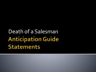Anticipation Guide Statements