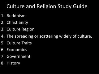 Culture and Religion Study Guide