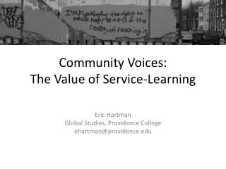 Community Voices:  The Value of Service-Learning