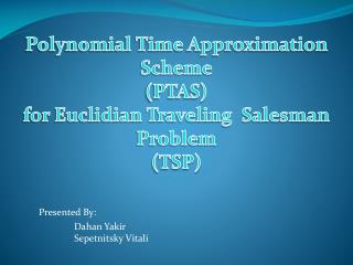 Polynomial Time Approximation Scheme (PTAS) for Euclidian Traveling  Salesman Problem (TSP)