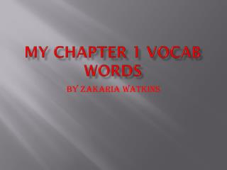 My Chapter 1 Vocab Words