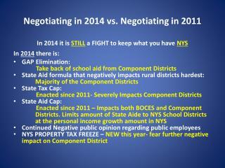Negotiating in 2014 vs. Negotiating in 2011