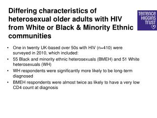 One in twenty UK-based over 50s with HIV (n=410)  were surveyed  in 2010, which  included: