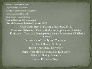 Name : Kusuma Hani Putri Department of Economics Faculty of Economics n Managemen