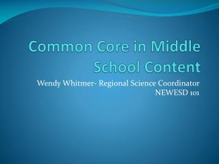 Common Core in Middle School Content