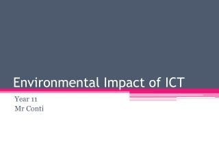 Environmental Impact of  ICT