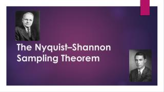 The  Nyquist �Shannon  Sampling Theorem