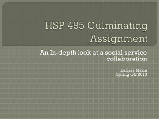 HSP 495 Culminating Assignment