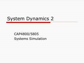 System Dynamics 2