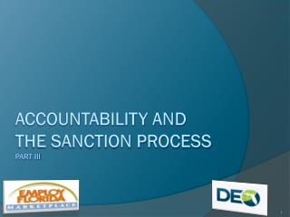 Accountability and the sanction process Part III