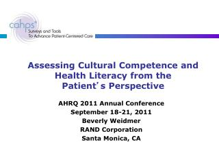 Assessing Cultural Competence and Health Literacy from the  Patient ' s Perspective