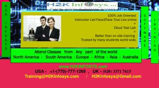 100% Job Oriented  Instructor Led Face2Face True Live online  +  Cloud Test Lab  =