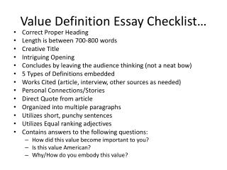 Value Definition Essay Checklist …