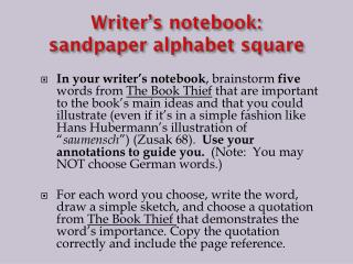 Writer's notebook: sandpaper alphabet square